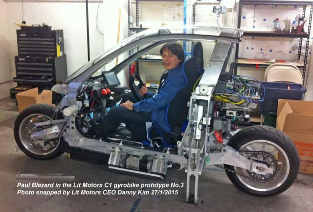 Blez in Lit Motors AEV 3rd Gyrobike Prototype