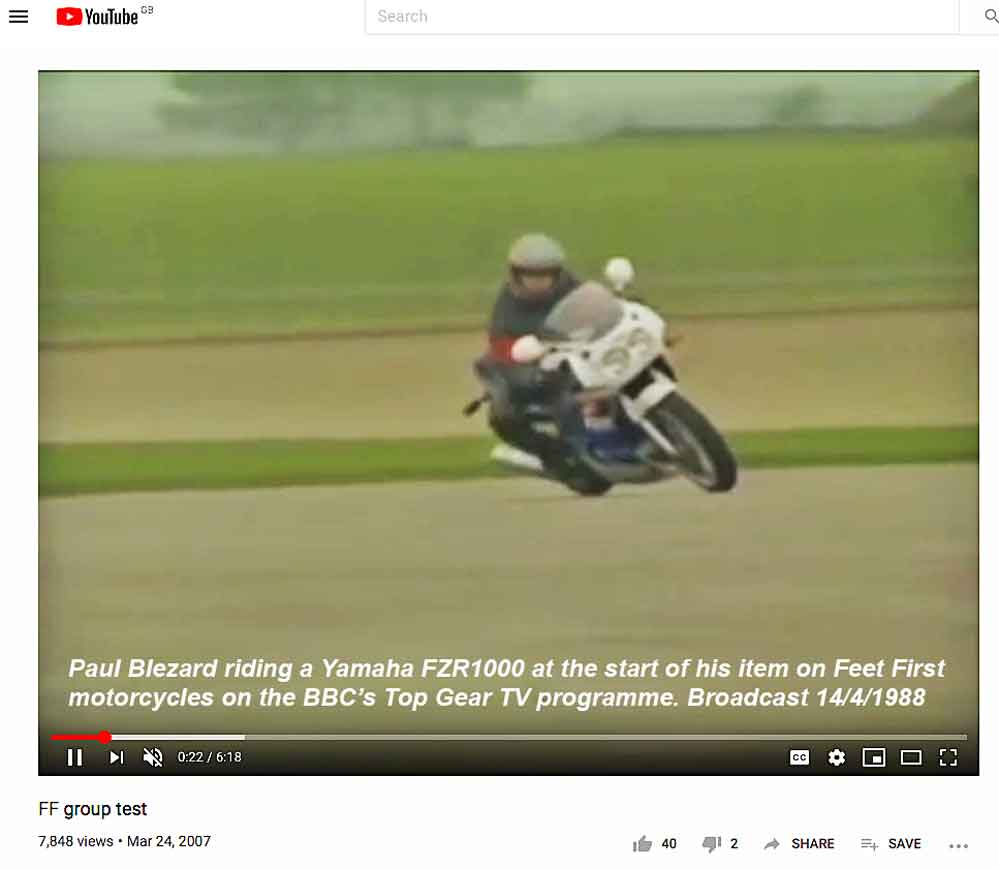 Blez on FZR1000 at start of Top Gear FF item