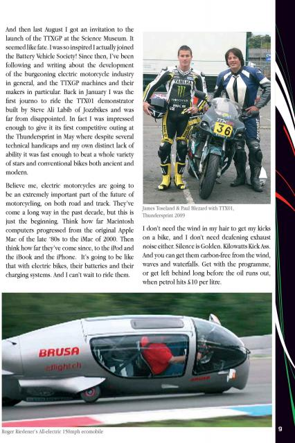 Second Half of Blez Electric Article in 2009 TTXGP Programme
