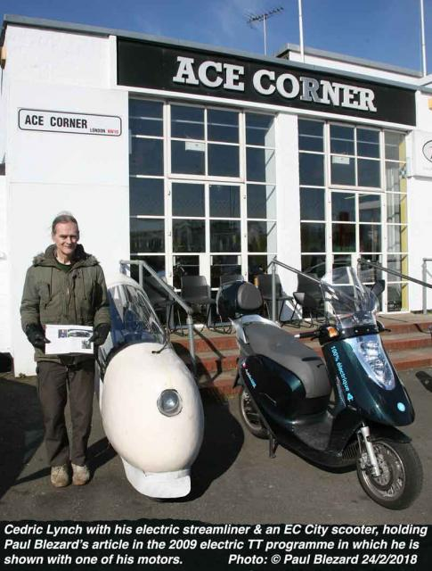 Cedric Lynch & his 1991 streamliner & a 2018 EC City electric scooter at the Ace Cafe