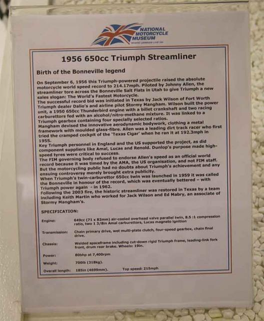 Details of the Bonneville Streamliner