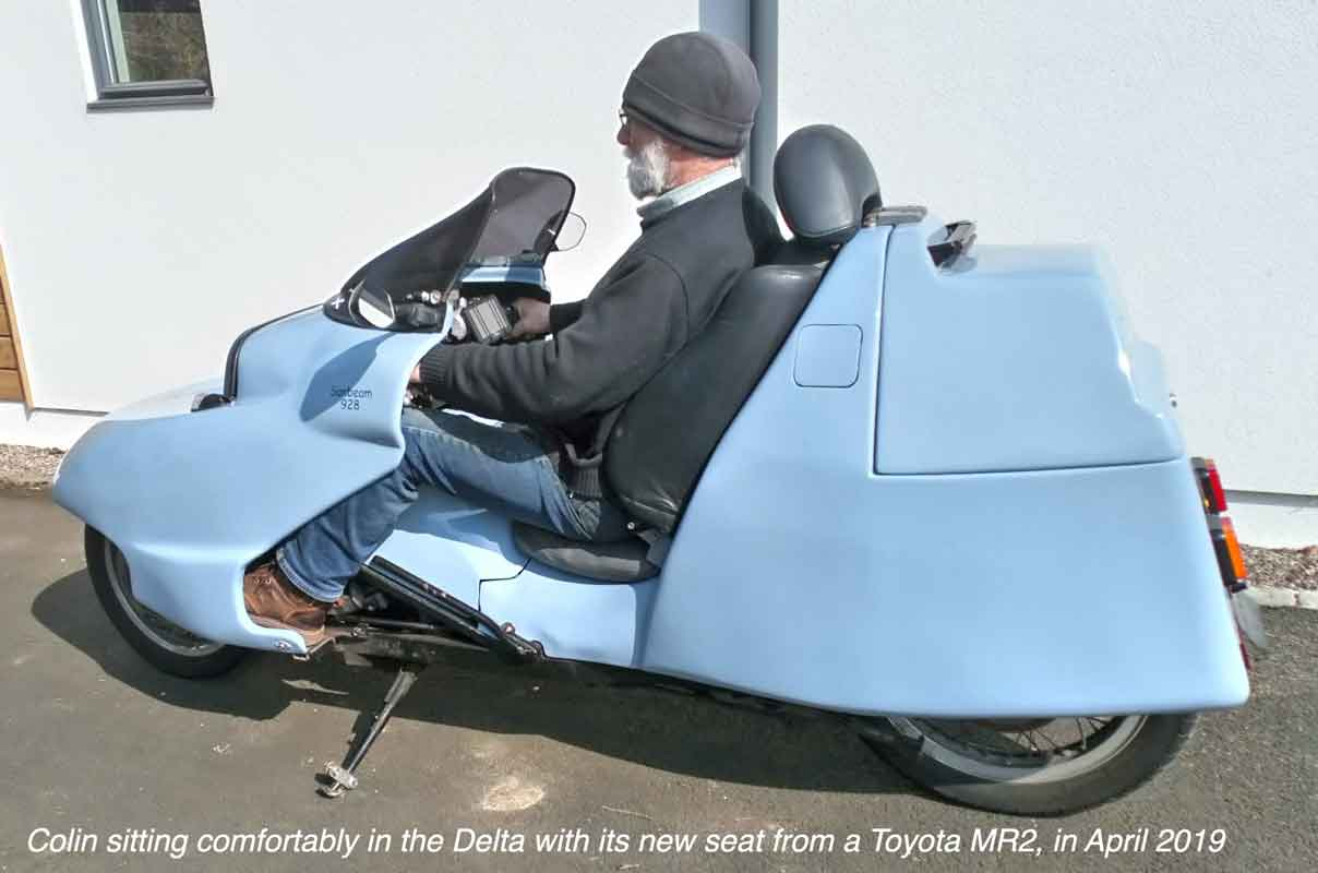 Colin in Delta with new Toyota MR2 seat, 2019.