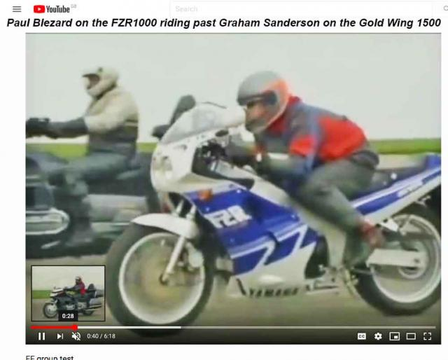 FZR passes Gold Wing in opening sequence