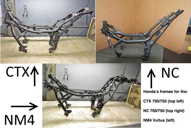Bare Frames of Honda's NC, CTX & NM4 Vultus