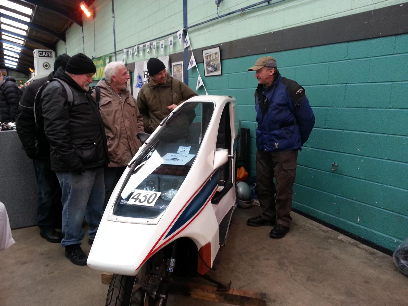 Len Purnell on form at the Bristol Classic Bike Show yesterday