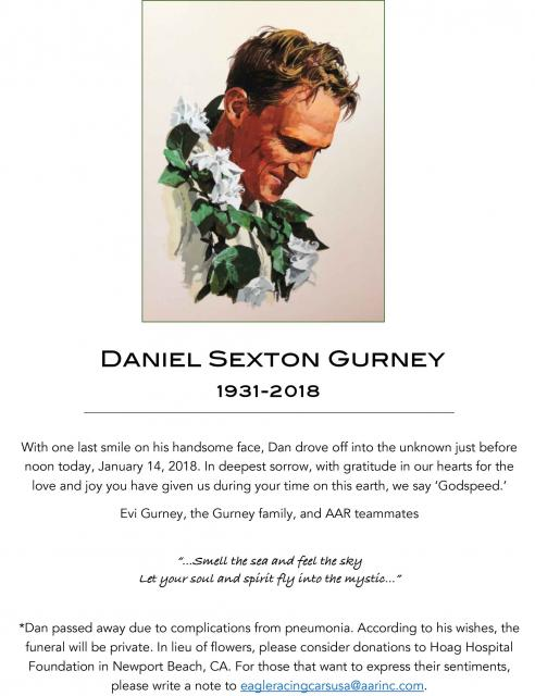 RIP Dan Gurney 1931-2018