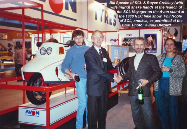 Voyager & Key People on Avon Stand at 1989 NEC Bike Show