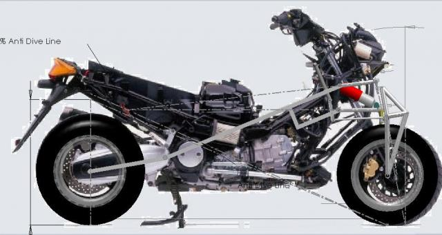 Naked T-Max with frame mock-up overlaid