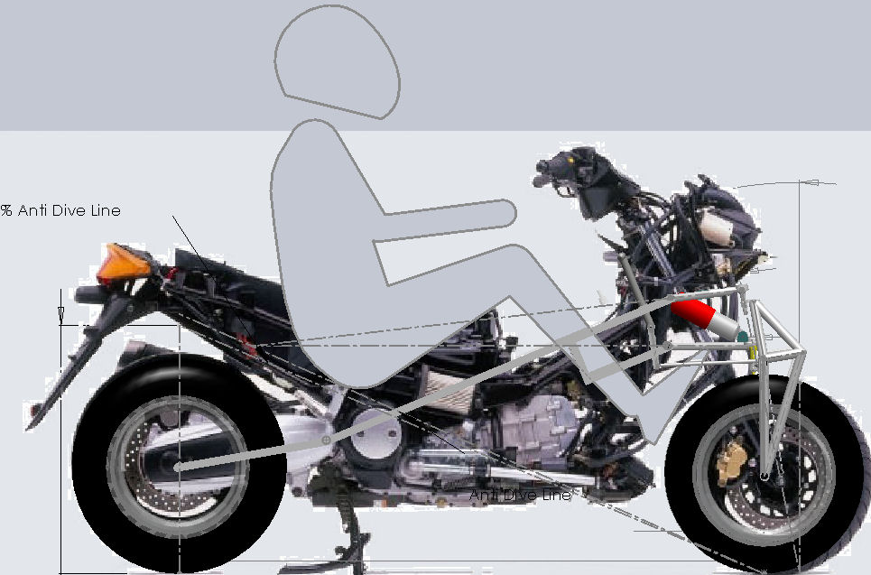 Naked T-Max with frame mock-up overlaid and new rider position displayed