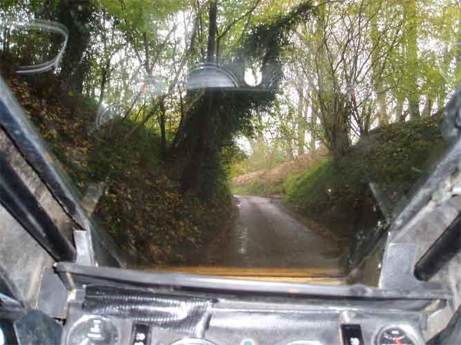 On board view of a tricky back road
