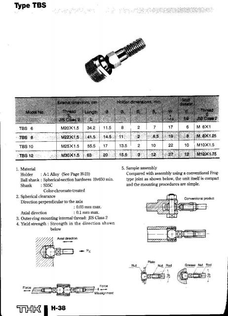 THK ball joint catalogue pages